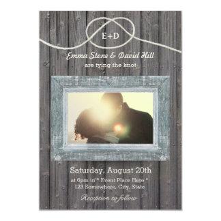 Rustic Weathered Wood Frame Photo Wedding Card