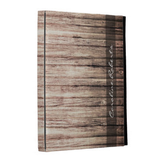 Rustic weathered wood grain with personalized name iPad folio cases
