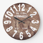 Rustic Weathered Wood Mr And Mrs Wedding Large Clock