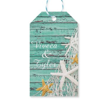 Beach Themed Rustic Weathered Wood Starfish Netting | aqua Gift Tags