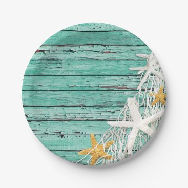 Beach Themed Rustic Weathered Wood Starfish Netting | aqua Paper Plate