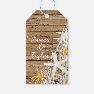 Rustic Weathered Wood Starfish Netting   brown Gift Tags
