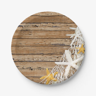 Rustic Weathered Wood Starfish Netting   brown Paper Plate