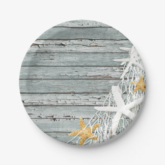 Rustic Weathered Wood Starfish Netting | grey Paper Plate