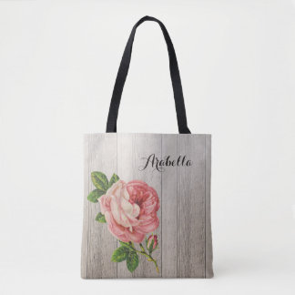 Rustic Weathered Wood Vintage Pink Rose With Name Tote Bag