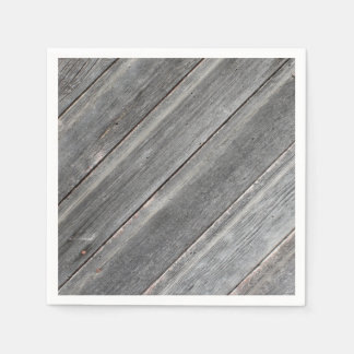 Rustic Weathered Wood Wall Standard Cocktail Napkin