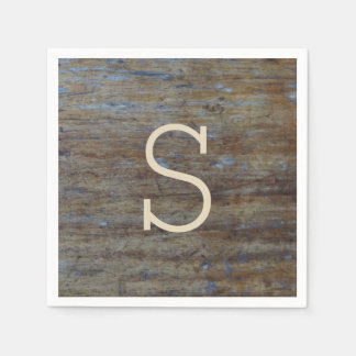 Rustic Weathered Wood Wedding Monogrammed Initial Paper Napkin