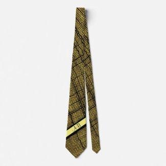 Rustic Weave Pale Yellow Custom Monogrammed Tie