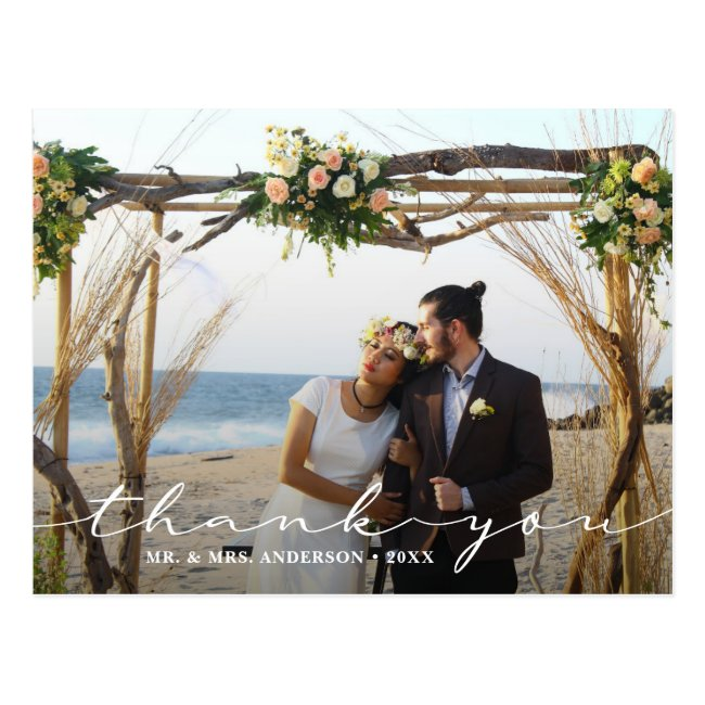 Rustic Wedding 2 Photo Thank You Postcard
