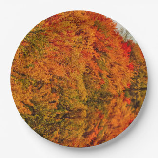 Rustic Wedding Amazin Fall Foliage Stunning Photo Paper Plate