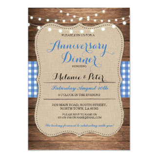 Rustic Wedding Anniversary Blue Party Invitation
