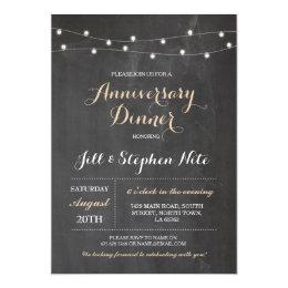 Couple dinner romantic invitations announcements zazzle rustic wedding anniversary lights party invitation stopboris Images