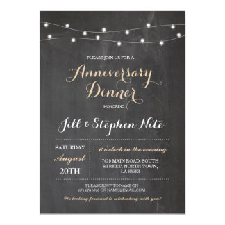 Rustic Wedding Anniversary Lights Party Invitation