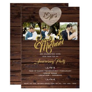 Rustic Wedding Anniversary with PHOTOS Invitations