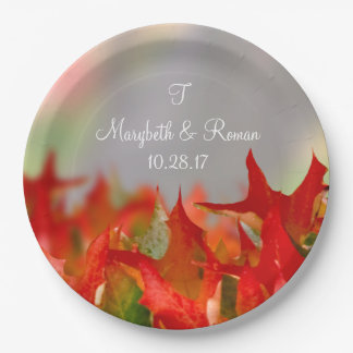 Rustic Wedding Autumn Leaves Name Monogram Fall Paper Plate