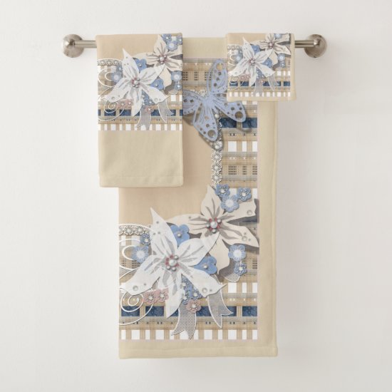 Rustic  , wedding bath towel set