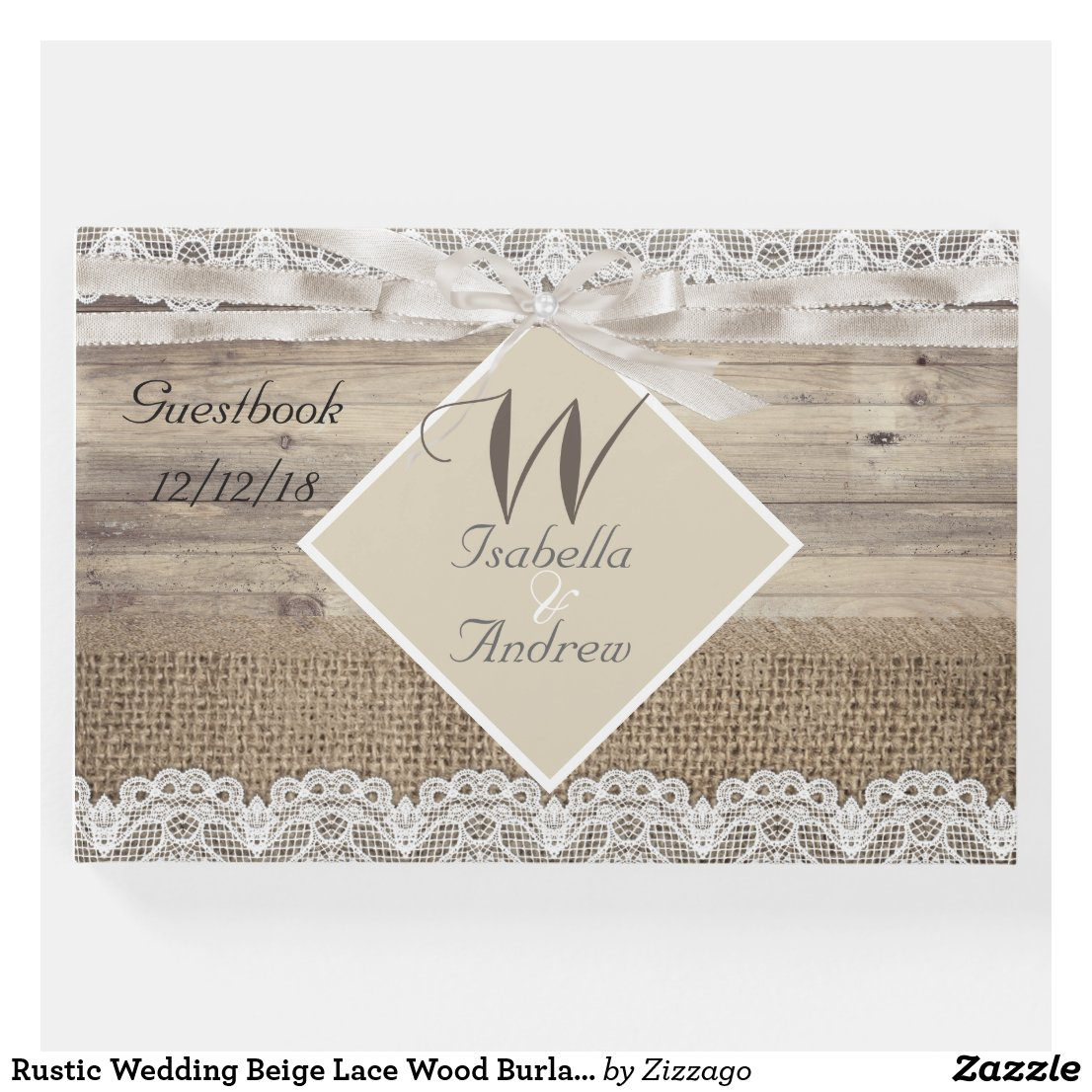 Rustic Wedding Beige Lace Wood Burlap Guestbook