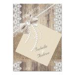 Rustic Wedding Beige Pearl Lace Wood Burlap 4 Card
