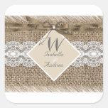 Rustic Wedding Beige White Lace Burlap 2 Sticker