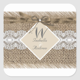 Rustic Wedding Beige White Lace Burlap 2 Square Sticker
