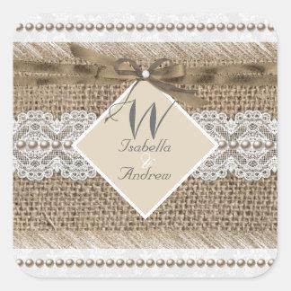 Rustic Wedding Beige White Lace Burlap Square Sticker