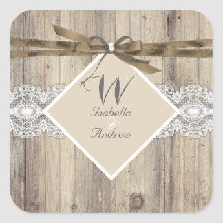 Rustic Wedding Beige White Lace Wood 2 Square Sticker