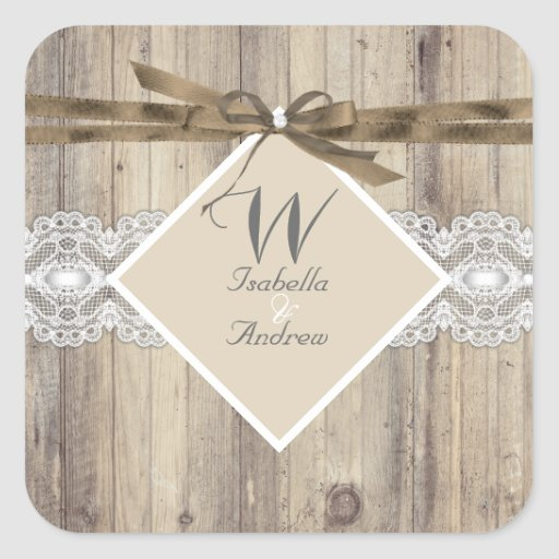 Rustic Wedding Beige White Lace Wood 2 Stickers
