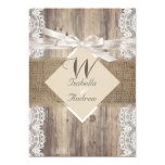 Rustic Wedding Beige White Lace Wood Burlap 2 5x7 Paper Invitation Card