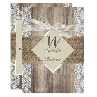 Rustic Wedding Beige White Lace Wood Burlap 2 Invitation