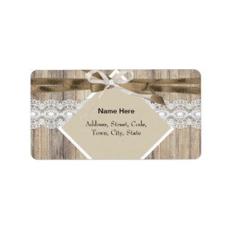 Rustic Wedding Beige White Lace Wood Burlap 2 Address Label