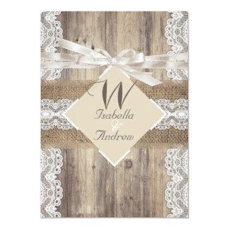 Rustic Wedding Beige White Lace Wood Burlap 2a 5x7 Paper Invitation Card