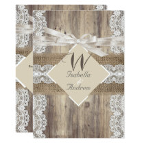 Rustic Wedding Beige White Lace Wood Burlap 2a Invitation