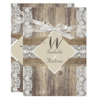 Rustic Wedding Beige White Lace Wood Burlap 2a Invitation