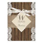 Rustic Wedding Beige White Lace Wood Burlap 3 Custom Announcement