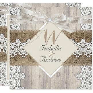 Rustic Wedding Beige White Lace Wood Burlap AB Card