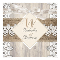 Rustic Wedding Beige White Lace Wood Burlap AB Card