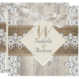 Rustic Wedding Beige White Lace Wood Burlap AB Invitation