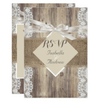 Rustic Wedding Beige White Lace Wood RSVP Invitation