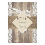 Rustic Wedding Beige White Lace Wood RSVP Announcement