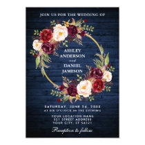 Rustic Wedding Blue Wood Burgundy Wreath Invite