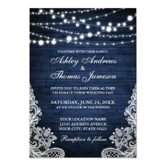 Rustic Wedding Blue Wood String Lights Lace Invite