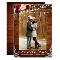 Rustic Wedding Burgundy Floral Lace Save the Date Card