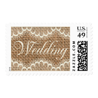 Rustic Wedding Burlap And Lace Custom Postage