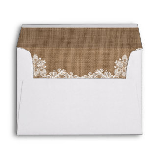 Rustic Wedding Burlap and Lace Envelope