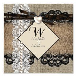Rustic Wedding Burlap Hessian Lace Pearl Heart Card