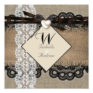 Rustic Wedding Burlap Hessian Lace Pearl Heart Announcement