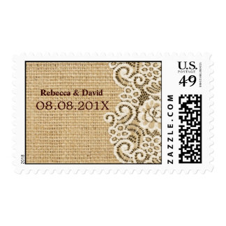 rustic wedding burlap lace country wedding postage stamp