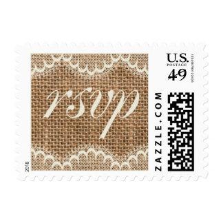 Rustic Wedding Burlap Lace RSVP Stamps