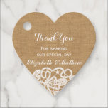 "Rustic  Wedding  Burlap Lace Thank You Favor Tags<br><div class=""desc"">Rustic Wedding Burlap Lace Thank You Favor Tag with burlap background and an elegant pure white Lace embroidery pattern printed at the bottom. Please note that NO actual lace will be used in making this product. Easily edit the text as desired to make a personalized favor tag for the wedding...</div>"