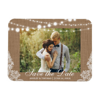 Rustic Wedding Burlap Lights Lace Save the Date Magnet